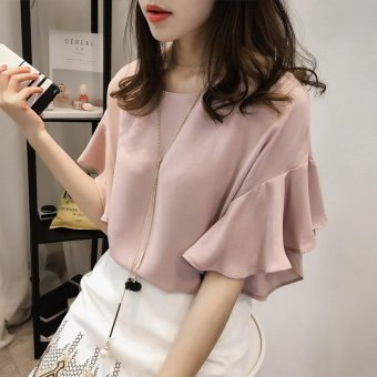 Large women's fat MM2016 summer chiffon shirt thin clothes on the fat sister 200 kg short sleeved T-shirt tide - intl