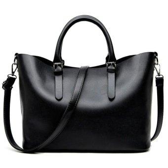 Hobos Women Bag Ladies Brand Leather Handbags Spring Casual Tote Bag Big Shoulder Bags (Black) - intl