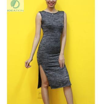 Đầm ôm sẻ Ideation hai bên sát nách-2320 (Xám đậm)