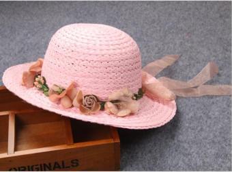 Nón (mũ) cói tự nhiên đi nắng cho bé gái hồng nhạt (M16)