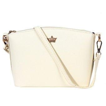 Mini Women Messenger Bags Shell Shaped Cross Pattern Imperial Crown (White) - Intl