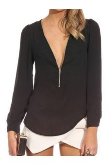 VNeck Long Sleeve Zippered T Black - Intl