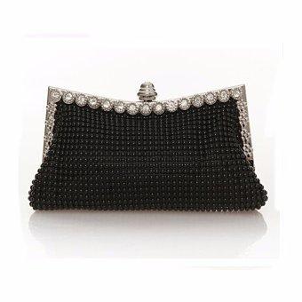 New Women Lady Beaded Clutch Evening Purse Chain Prom Party Shoulder Handbag Bag Black - intl