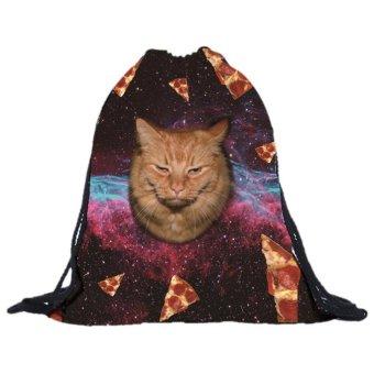 Unisex Cat Backpacks 3D Printing Bags Drawstring Backpack E - intl