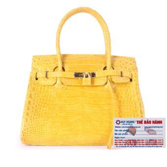HL6242 - Túi xách nữ da cá sấu Huy Hoàng Vip màu vàng nghệ