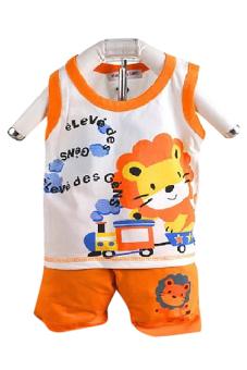 Bộ đồ mùa hè cho bé trai Family Shop TEH53 (Cam)