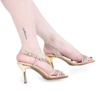 Crapemyrtle Paillette Open Toe Ankle Strap Ladies High Heel Sandals(Golden) - intl