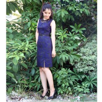 Đầm Body hoa văn ren phối xanh 18DT13