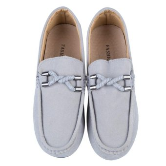 Men Driving Shoes Moccasins Suede Leather Casual Footwear(Grey) - intl