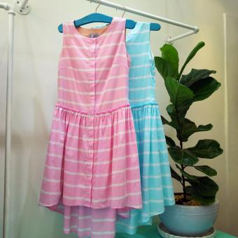 Đầm suông cotton sọc màu pastel (Màu hồng)
