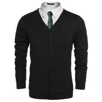 Cyber COOFANDY Men Fashion Casual V-Neck Long Sleeve Button Down Solid Cardigan (Black) - Intl