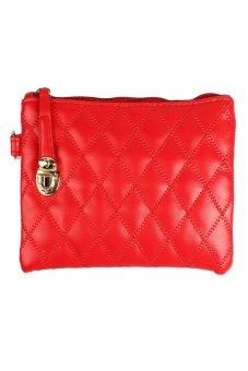 HKS Women Ladies Soft Leather Long Clutch Wallet Card Purse Handbag Red - intl