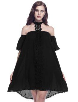 Linemart Women Casual Halter Off the Shoulder Floral Appliques Hem Lace Loose Dress ( Black ) - intl