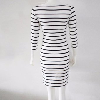 New Spring Summer Women Round Neck Fashion Black and White Striped Long Sleeve Straight Plus Size Casual Dress (White) - intl