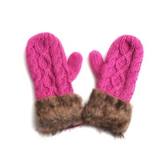 Fashion Winter Women Gloves Mitten Thick Warm Knitted Faux Fur Christmas Cute Rose - Intl