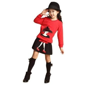 Baby Kids Set Long Sleeve Cartoon Print Tracksuit +Skirt Outfits Set - intl