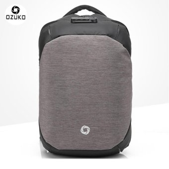 OZUKO Creative Oxford Backpack Anti-theft Laptop Bags Casual Travel Bags External USB Charging Business Backpack Sport Bag (Grey) - intl