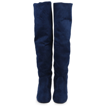 Retro Pure Color Round Toe Ladies Suede Knee Boots(Deep blue) - intl