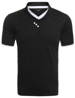 Cyber Men's V-Neck Short Sleeve Patchwork Slim Fit Casual T-Shirt ( Black ) - intl