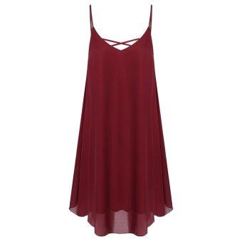 Cyber Zeagoo Women Spaghetti Strap Chiffon Sundress Sleeveless Beach Dress (Wine Red) - Intl