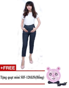 Quần bó legging nữ thời trang ZASKIN ZA04Q4 (Xanh lam đậm) + Tặng quạt mini shinil SIF-120JJS (Hồng)