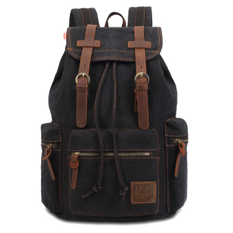 Neutral Cotton Canvas Double Shoulder Backpack Mountaineering School Bags Black