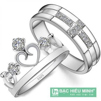 Nhẫn đôi Bạc Hiểu Minh nc068s vua và nữ hoàng