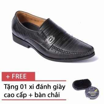 Giày da nam công sở SMARTMEN GL-042 (Đen) - Tặng kèm bàn chả và xi đánh giày cao cấp