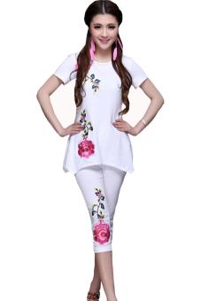 Đồ bộ nữ thun in hoa hồng hàn quốc giá gốc (Trắng)