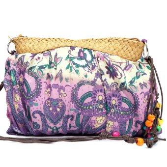 Womens Small Handmade Bohemian Straw Beach Purse Shoulder Bag Pueple - intl
