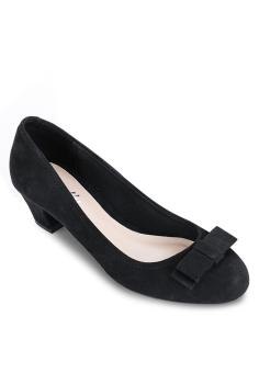 Giày Bít Tròn Nơ Nhỏ Gót Thô 3cm (Đen)