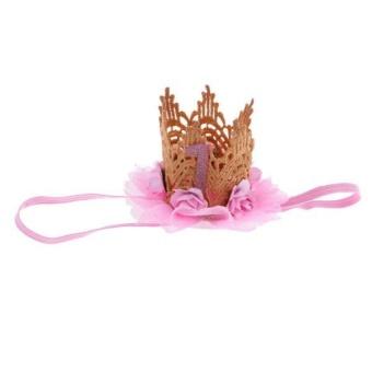 BolehDeals Lovely Baby Girl Glitter 1 Crown Hair Band Flower Tulle Headband Pink - intl