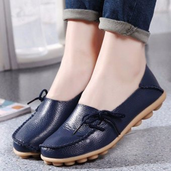 Women Shoes Leather Beanie Flat Shoes Summer Spring Autumn Slip-on Knot Non-slip Woman Ladies Soft Loafers Flats Dark Blue - intl