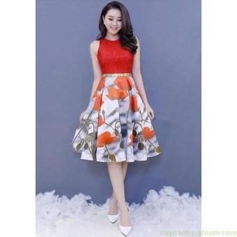 Đầm ren sát nách ép tùng xòe hoa tulip cao cấp | Đầm ren đẹp