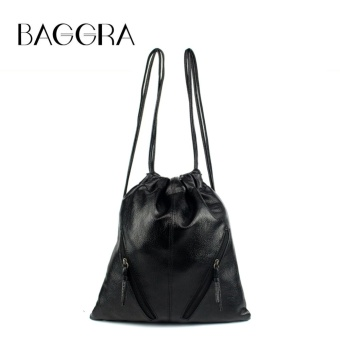 Baggra Women PU Leather Backpack Drawstring Large Capacity Student Outdoor Casual Shoulder Bag Black - intl