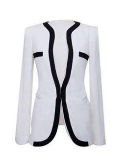 ZANZEA OL Stylish Womens Lapel Tops Coat Slim Blazer One Button Jacket Suit White (Intl)