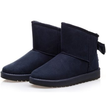 Women Winter Warm Fur Lined Cute Bowknot Ankle Mid Calf Snow Boots Shoes Dark Blue - intl