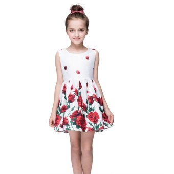 Girls Rose Print Tutu Princess Dress - intl