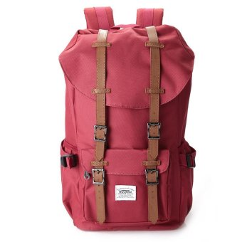 Unisex Solid Pattern Soft Nylon Backpack (Red) - Intl