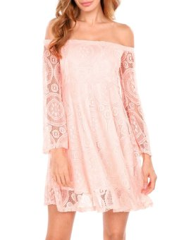 Linematr Women Casual Slash Neck Flare Sleeve Off Shoulder A-Line Pleated Hem Lace Dress with Lining ( Pink ) - intl