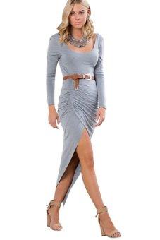 Round Collar Backless Dress Irregular Gown - Intl