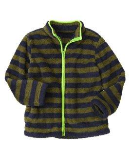 Áo khoác lông cừu Crazy8 34782 Stripe Sherpar Olive Green sz 5-6y
