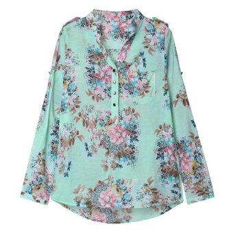 NEW Womens Long Sleeve V neck Flower Print Shirts - Intl
