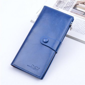Hot sale new Women&men's wallet mulit Card Place Handbags zipper PU Leather thin purse dark blue - intl