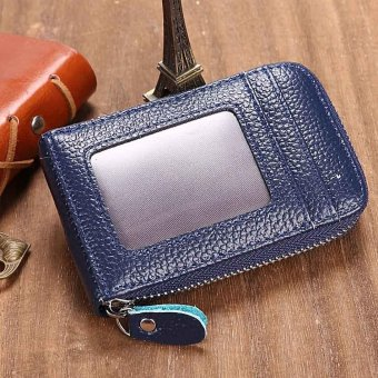 Linemart Mens/Womens Fashion Mini Synthetic Leather Wallet ID Credit Cards Holder Organizer Purse ( Dark Blue ) - intl