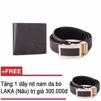Bộ ví và thắt lưng nam da bò thật LAKA nâu trơn + Tặng 01 thắt lưng nam da bò LAKA (nâu trơn) trị giá 300000