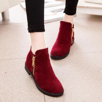 Giày boot dây cổ thấp dây kéo bên hông (Đỏ đô)
