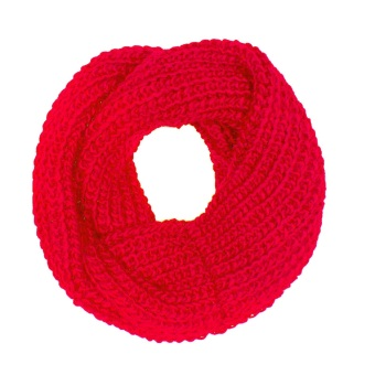 Women Girls Winter Warm Wool Knit Infinity Scarf Red - Intl