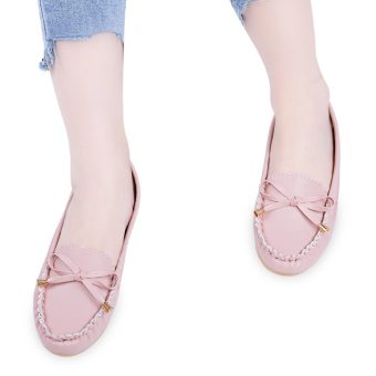 Casual Solid Color Round Toe Bowknot Flat Shoes(Pink) - intl