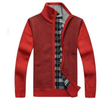 Men's Knitted Wool Blend Thick Polar Fleece Lining Sweater Cardigans (Red) - intl